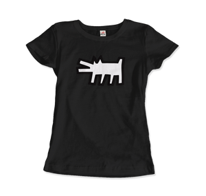 Keith Haring The Barking Dog Icon, 1990 Street Art T-Shirt - Women / Black / Small by Art-O-Rama