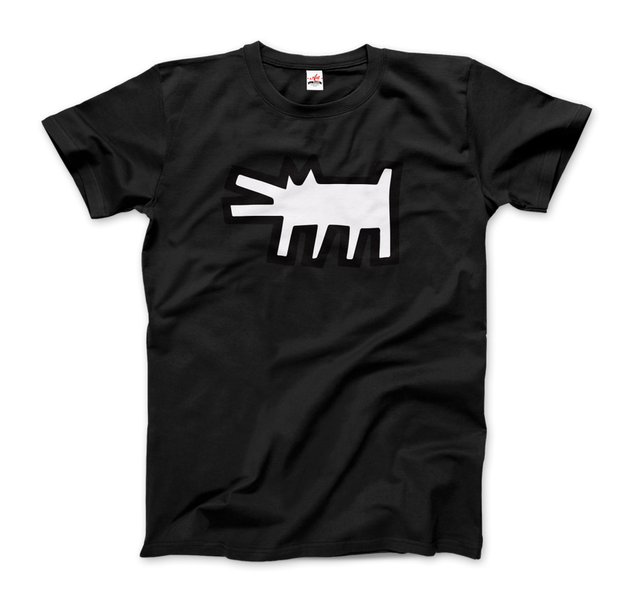 Keith Haring The Barking Dog Icon, 1990 Street Art T-Shirt - Men / Black / Small by Art-O-Rama