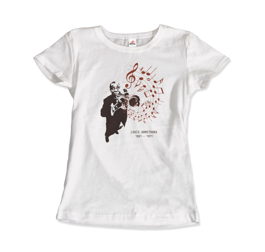 Louis Armstrong (Satchmo) Playing Trumpet T-Shirt - Women / White / Small by Art-O-Rama