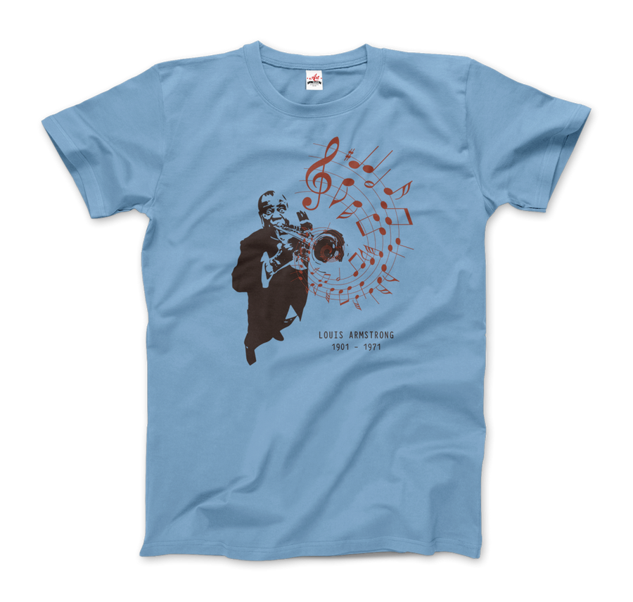 Louis Armstrong (Satchmo) Playing Trumpet T-Shirt - Men / Light Blue / Small by Art-O-Rama