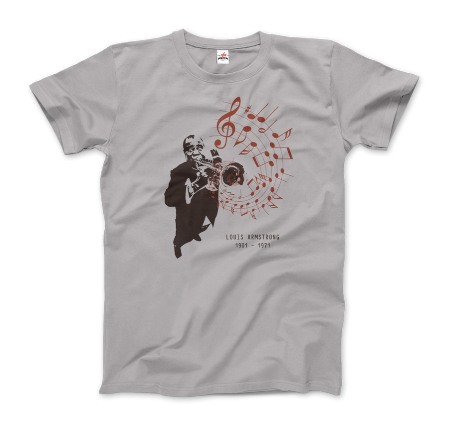 Louis Armstrong (Satchmo) Playing Trumpet T-Shirt - Men / Silver / Small by Art-O-Rama