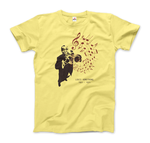 Louis Armstrong (Satchmo) Playing Trumpet T-Shirt - Men / Spring Yellow / Small by Art-O-Rama