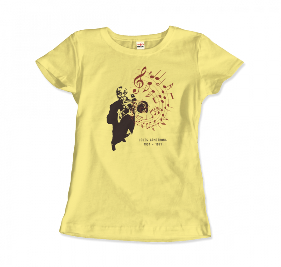 Louis Armstrong (Satchmo) Playing Trumpet T-Shirt - Women / Spring Yellow / Small by Art-O-Rama