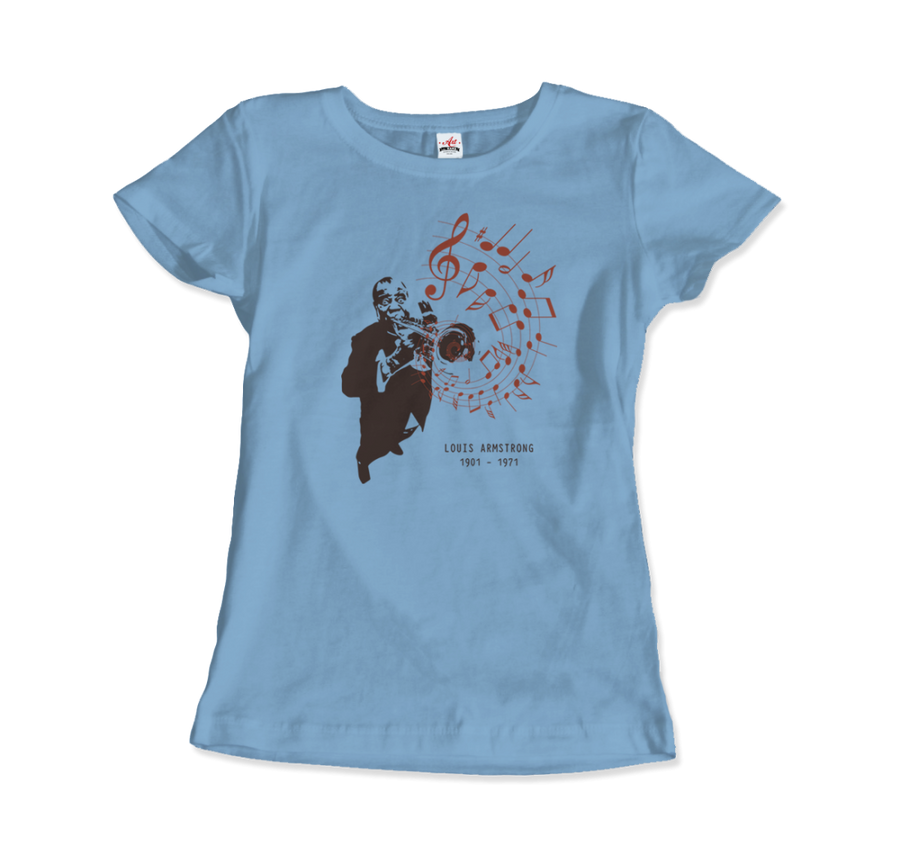 Louis Armstrong (Satchmo) Playing Trumpet T-Shirt - Women / Light Blue / Small by Art-O-Rama