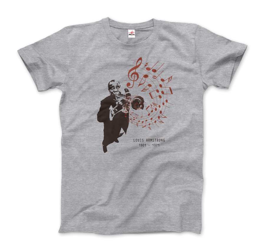 Louis Armstrong (Satchmo) Playing Trumpet T-Shirt - Men / Heather Grey / Small by Art-O-Rama