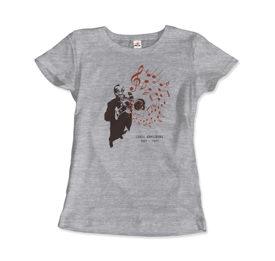 Louis Armstrong (Satchmo) Playing Trumpet T-Shirt - Women / Heather Grey / Small by Art-O-Rama