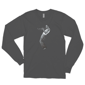 Miles Davis Playing his Trumpet Artwork Long Sleeve Shirt - Asphalt / Small by Art-O-Rama