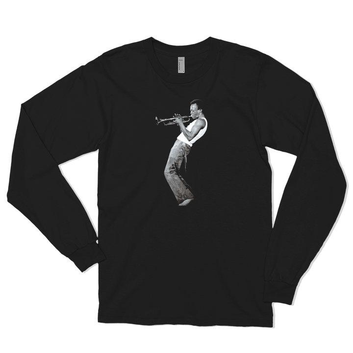 Miles Davis Playing his Trumpet Artwork Long Sleeve Shirt