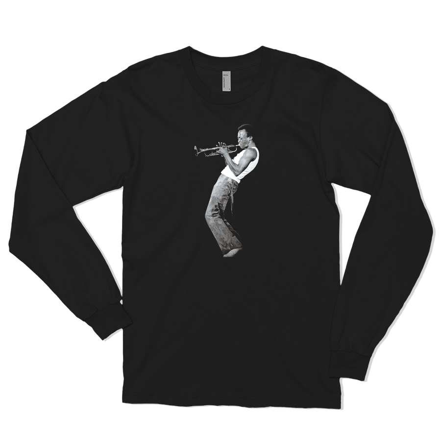 Miles Davis Playing his Trumpet Artwork Long Sleeve Shirt - Black / Small by Art-O-Rama