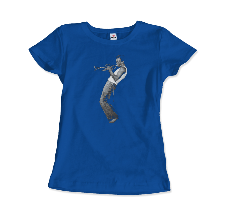 Miles Davis Playing his Trumpet Artwork T-Shirt - Women / Royal Blue / Small by Art-O-Rama
