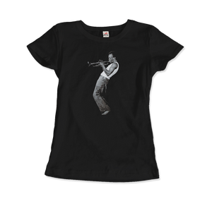 Miles Davis Playing his Trumpet Artwork T-Shirt - Women / Black / Small by Art-O-Rama
