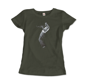 Miles Davis Playing his Trumpet Artwork T-Shirt - Women / City Green / Small by Art-O-Rama