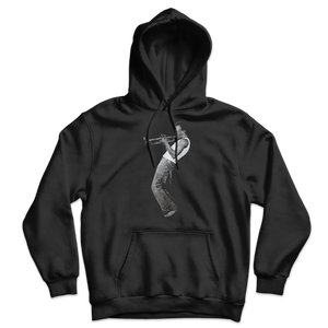 Miles Davis Playing his Trumpet Artwork Unisex Hoodie - Black / S by Art-O-Rama