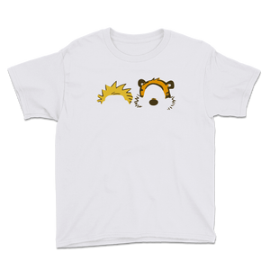 Calvin and Hobbes Faces Contour Youth T-Shirt - White / XS by Art-O-Rama