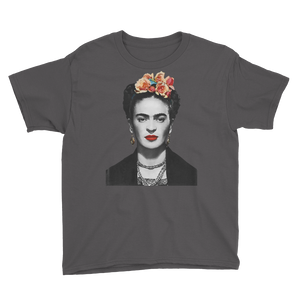 Frida Kahlo With Flowers Poster Artwork  Youth T-Shirt - Charcoal / XS by Art-O-Rama