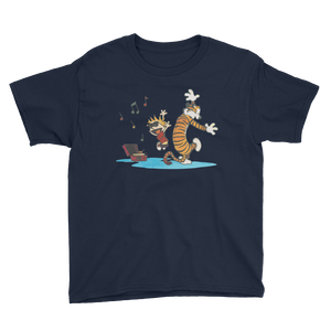 Calvin and Hobbes Dancing with Record Player Youth T-Shirt - Art-O-Rama