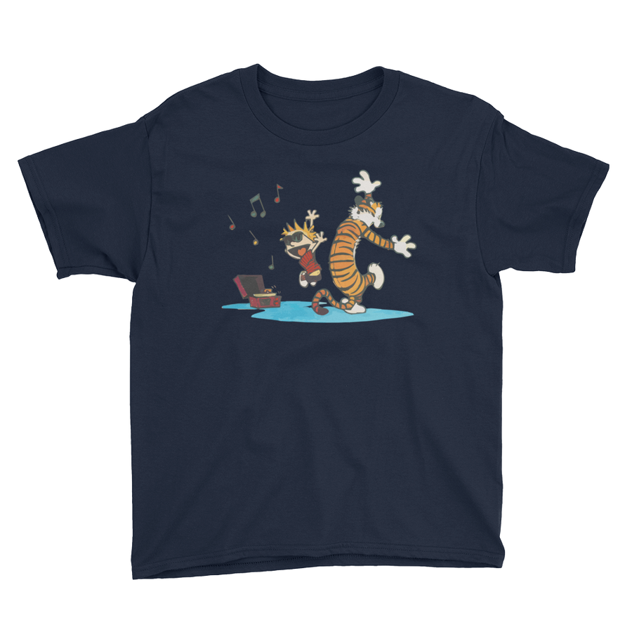 Calvin and Hobbes Dancing with Record Player Youth T-Shirt - Navy / XS by Art-O-Rama