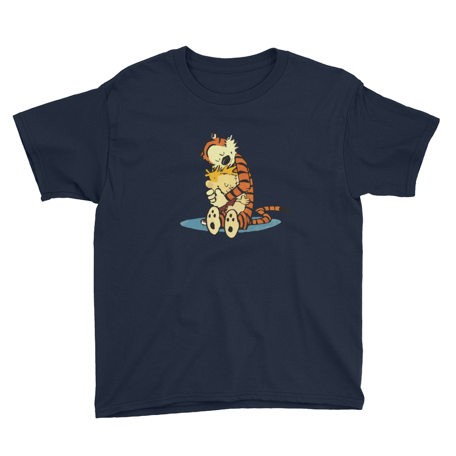 Calvin and Hobbes Hugging Artwork Youth T-Shirt - Navy / XS by Art-O-Rama