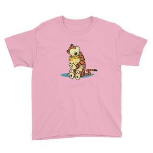 Calvin and Hobbes Hugging Artwork Youth T-Shirt - Charity Pink / XS by Art-O-Rama