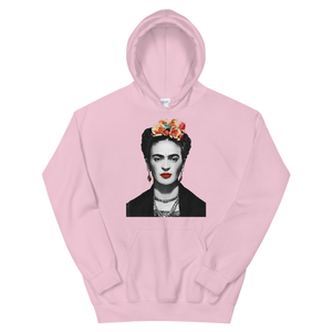 Frida Kahlo With Flowers Poster Artwork Unisex Hoodie - Light Pink / S by Art-O-Rama