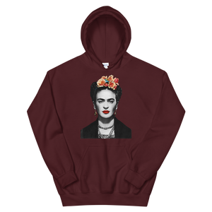 Frida Kahlo With Flowers Poster Artwork Unisex Hoodie - Maroon / S by Art-O-Rama