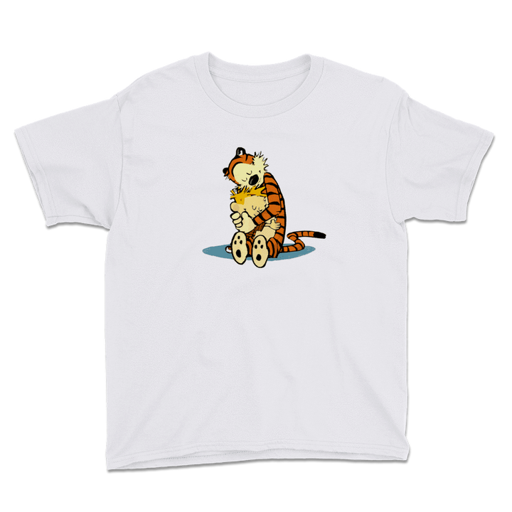 Calvin and Hobbes Hugging Artwork Youth T-Shirt - White / XS by Art-O-Rama