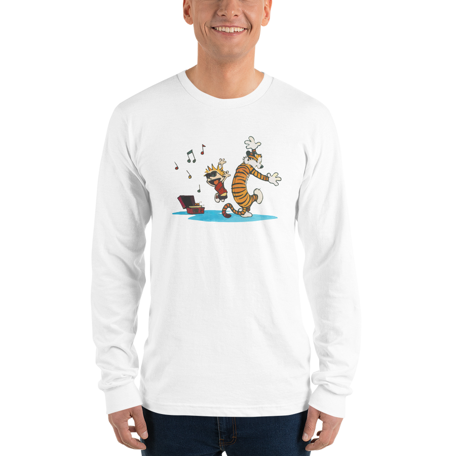 Calvin and Hobbes Dancing with Record Player Long Sleeve Shirt - [variant_title] by Art-O-Rama