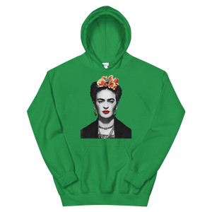 Frida Kahlo With Flowers Poster Artwork Unisex Hoodie - Irish Green / S by Art-O-Rama