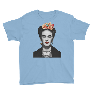 Frida Kahlo With Flowers Poster Artwork  Youth T-Shirt - Light Blue / XS by Art-O-Rama