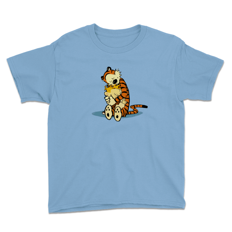 Calvin and Hobbes Hugging Artwork Youth T-Shirt - Light Blue / XS by Art-O-Rama