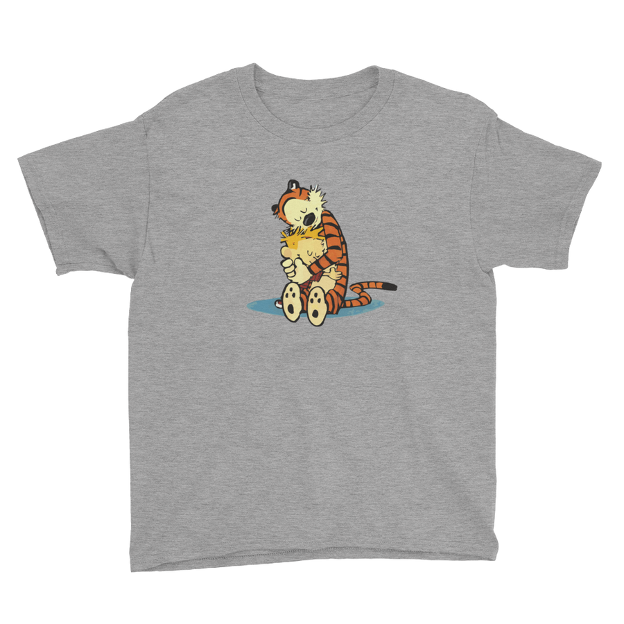 Calvin and Hobbes Hugging Artwork Youth T-Shirt - Heather Grey / XS by Art-O-Rama