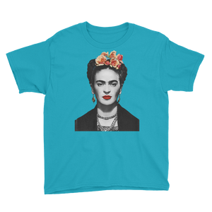 Frida Kahlo With Flowers Poster Artwork  Youth T-Shirt - Caribbean Blue / XS by Art-O-Rama