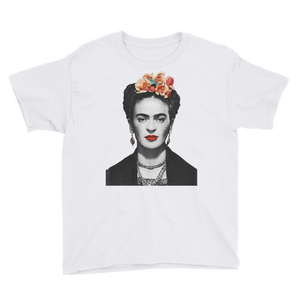 Frida Kahlo With Flowers Poster Artwork  Youth T-Shirt - White / XS by Art-O-Rama