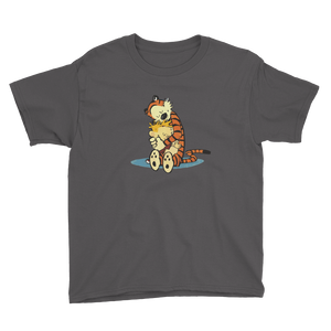 Calvin and Hobbes Hugging Artwork Youth T-Shirt - Charcoal / XS by Art-O-Rama