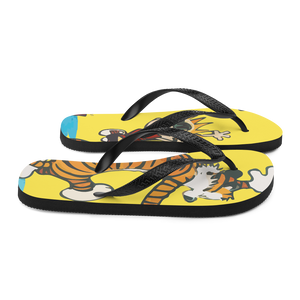 Calvin and Hobbes Dancing with Record Player Flip-Flops - [variant_title] by Art-O-Rama