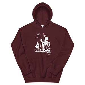Pablo Picasso Don Quixote of La Mancha 1955 Artwork Unisex Hoodie - Maroon / S by Art-O-Rama