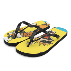 Calvin and Hobbes Dancing with Record Player Flip-Flops - Small by Art-O-Rama