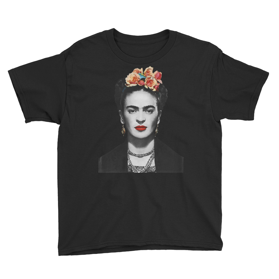 Frida Kahlo With Flowers Poster Artwork  Youth T-Shirt - Black / XS by Art-O-Rama