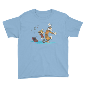 Calvin and Hobbes Dancing with Record Player Youth T-Shirt - Light Blue / XS by Art-O-Rama
