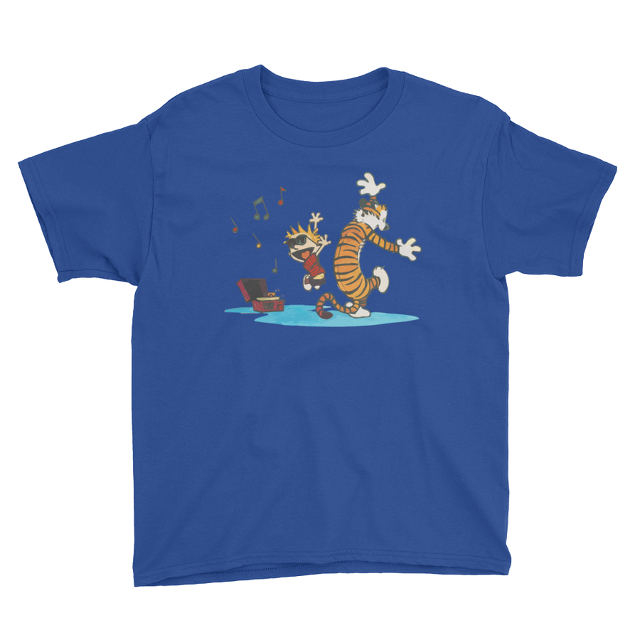 Calvin and Hobbes Dancing with Record Player Youth T-Shirt - Royal Blue / XS by Art-O-Rama