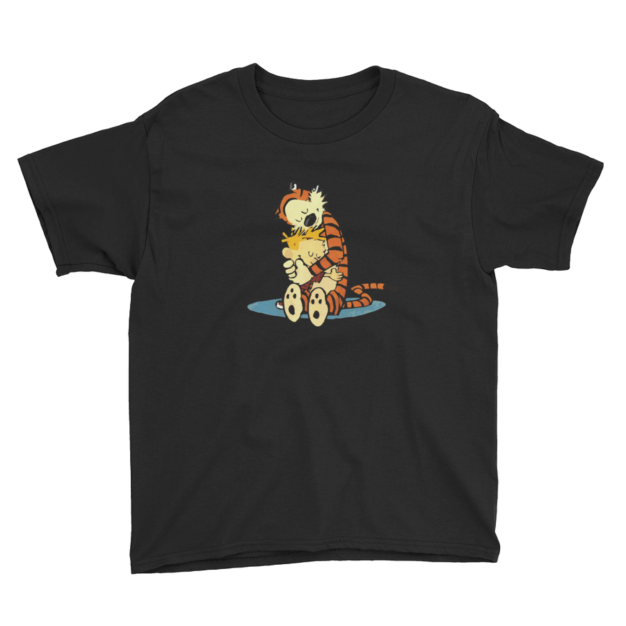Calvin and Hobbes Hugging Artwork Youth T-Shirt - Black / XS by Art-O-Rama