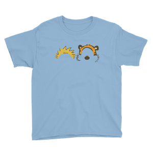 Calvin and Hobbes Faces Contour Youth T-Shirt - Light Blue / XS by Art-O-Rama