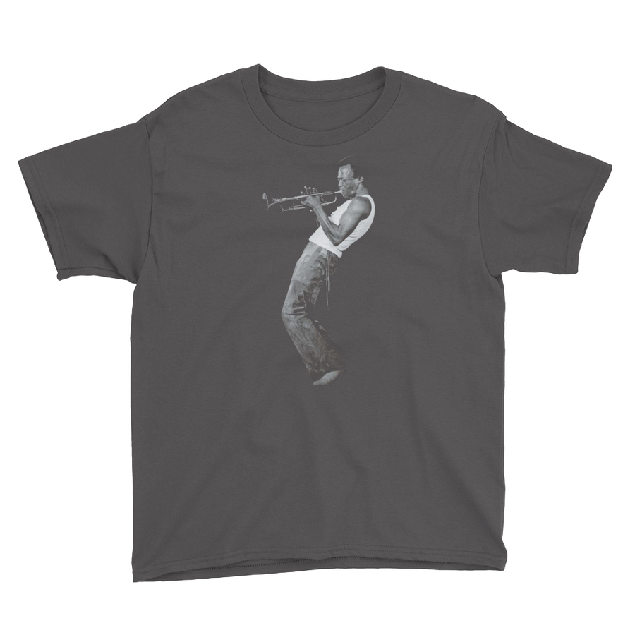 Miles Davis Playing his Trumpet Artwork Youth T-Shirt - Charcoal / XS by Art-O-Rama