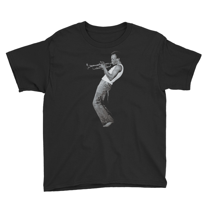 Miles Davis Playing his Trumpet Artwork Youth T-Shirt - Art-O-Rama