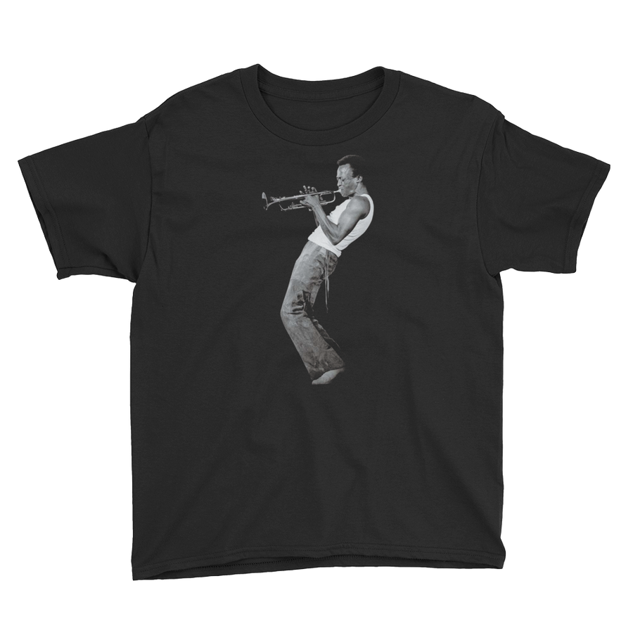 Miles Davis Playing his Trumpet Artwork Youth T-Shirt - Black / XS by Art-O-Rama