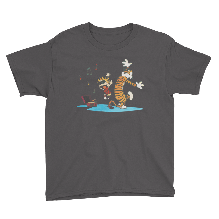 Calvin and Hobbes Dancing with Record Player Youth T-Shirt - Charcoal / XS by Art-O-Rama
