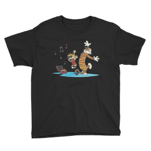 Calvin and Hobbes Dancing with Record Player Youth T-Shirt - Black / XS by Art-O-Rama