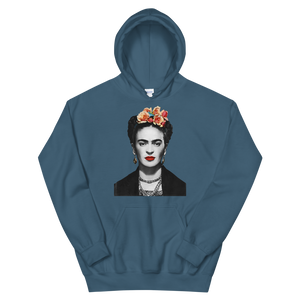 Frida Kahlo With Flowers Poster Artwork Unisex Hoodie - Indigo Blue / S by Art-O-Rama