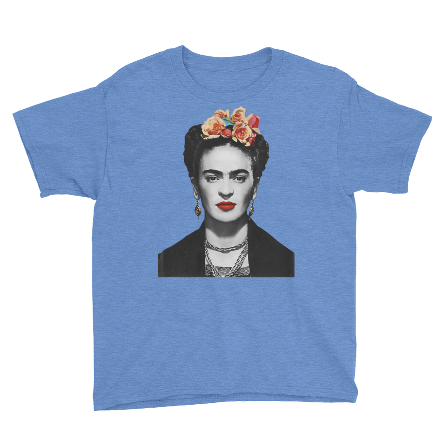 Frida Kahlo With Flowers Poster Artwork  Youth T-Shirt - Heather Royal / XS by Art-O-Rama