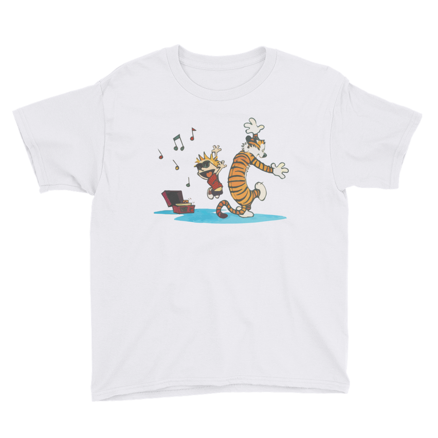 Calvin and Hobbes Dancing with Record Player Youth T-Shirt - White / XS by Art-O-Rama